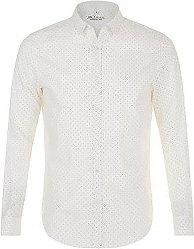 SOLS - Camisa de popelín de manga larga estampado de lunares modelo Becker para hombre: Amazon.es: Ropa y accesorios