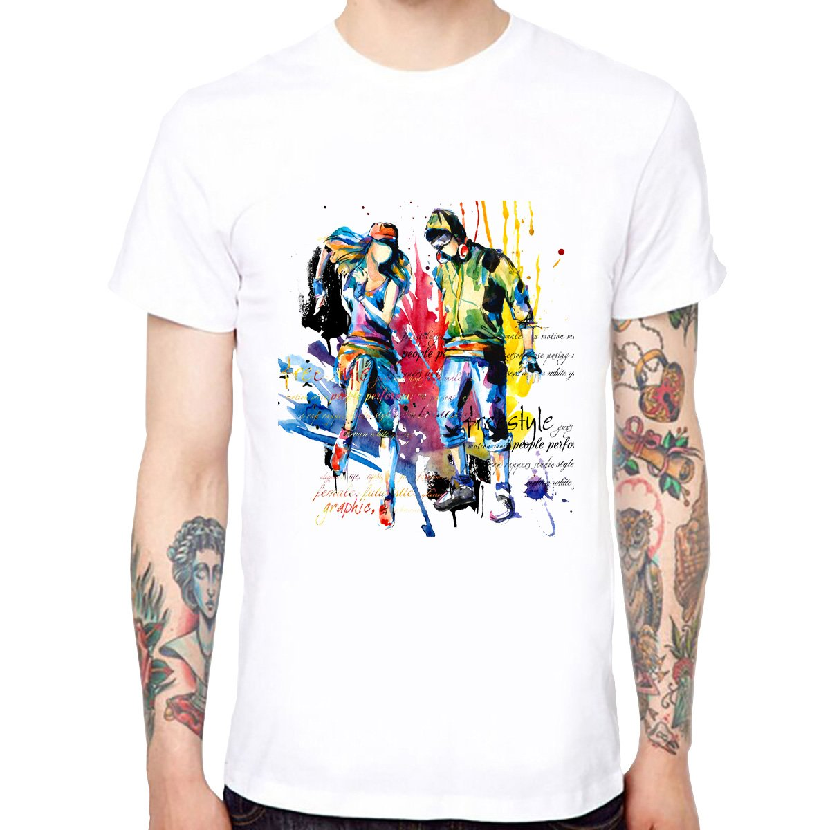 4b0263000 Yingyan Freestyle Dancer Men's Cotton Soft Funny Cool T-Shirts Short Sleeve  Tops Tee | Amazon.com