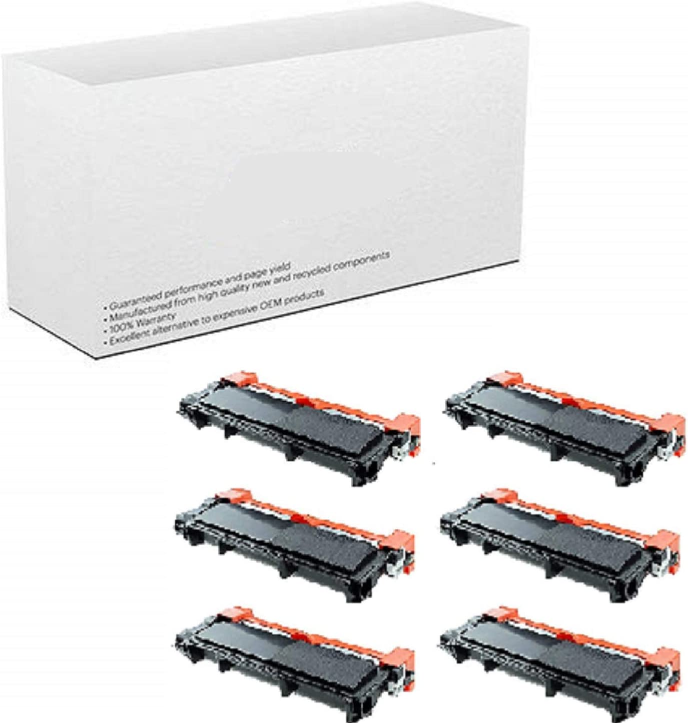AM-Ink Compatible Toner Cartridge Replacement for Brother TN630 TB-630 TN660 TN-660 High Yield MFC-L2720DW MFC-L2740DW Printer 6-Pack