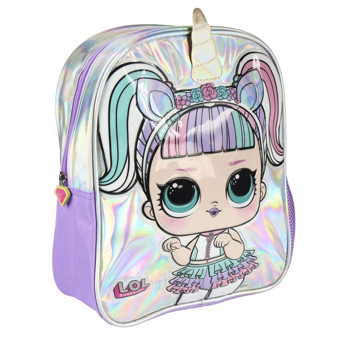 Official LOL Surprise Girls Deluxe Glitter Front Pocket Backpack Children/'s Bag