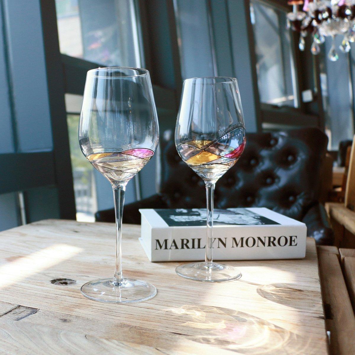 Amazon.com | Hand Painted Wine Glasses, Bouquetier Unique Piece Of ...