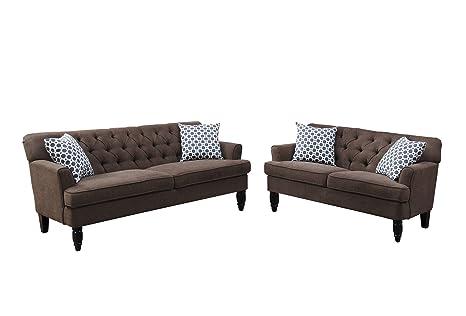 Sensational Poundex Bobkona Fostord Velveteen Fabric 2Piece Sofa Loveseat Set In Dark Brown Theyellowbook Wood Chair Design Ideas Theyellowbookinfo