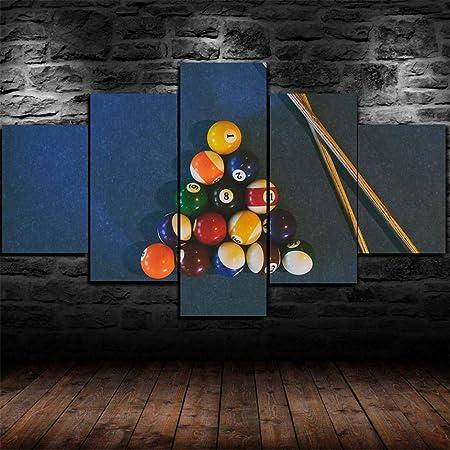 GIRDSS- Impresión Artística Imagen Gráfica Decoracion - Cuadros para Dormitorios Modernos Lienzo 5 Piezas XXL Billar, Billar, Billar, Juego Referencia - Tamaño 150 * 80 Cm Regalo Creativo: Amazon.es: Hogar