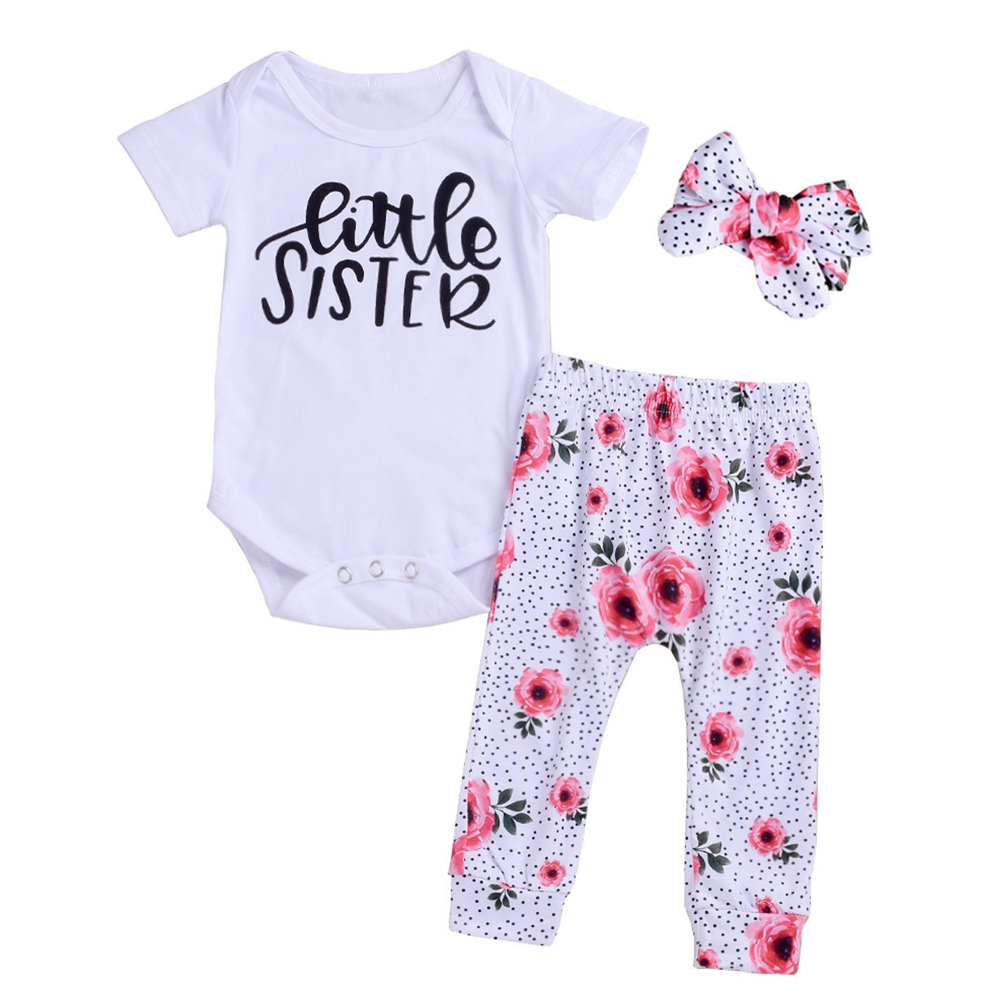 Little Big Sister Toddler Baby Girl Matching Clothes Romper T-Shirt Polka dot Skirt Dress Outfits Set
