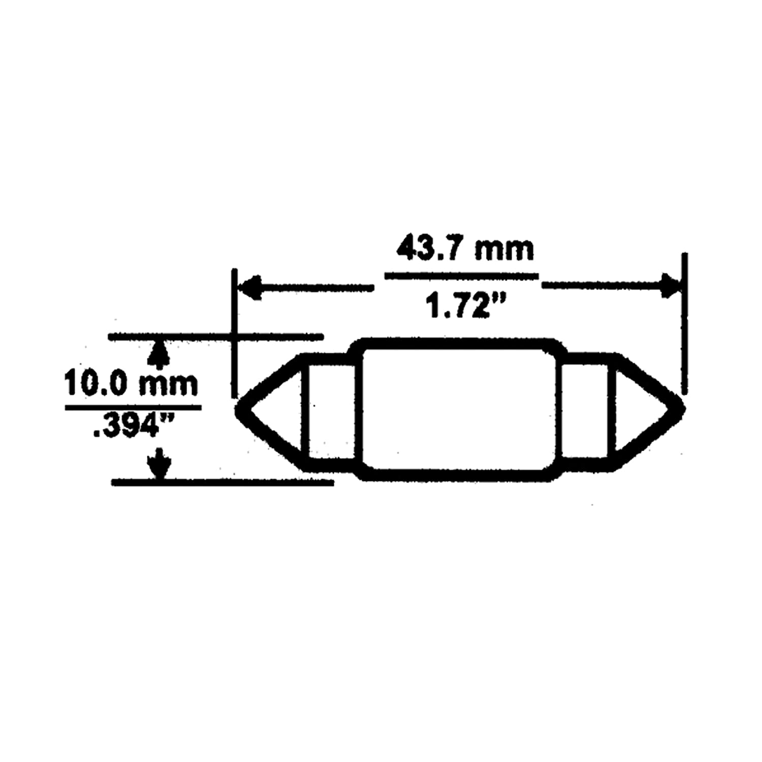 Camco 54754 Replacement 211-2 Auto Interior Light Bulb Box of 10
