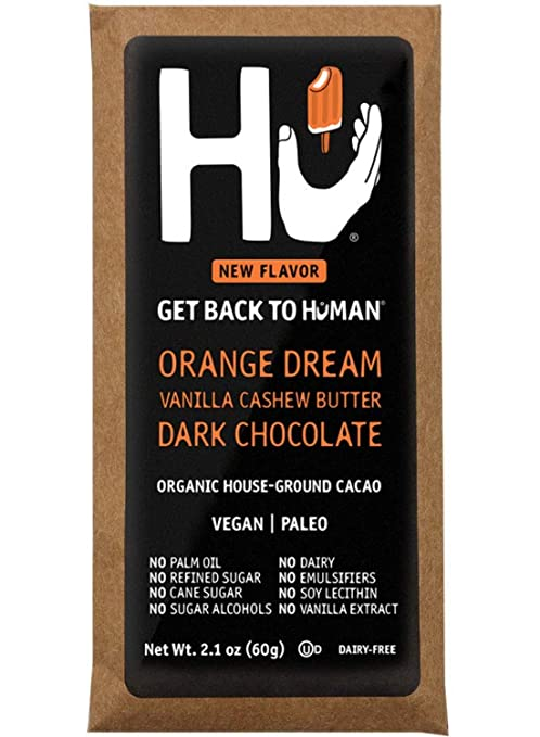 Hu Chocolate Bars | 4 Pack Orange Dream Vanilla Cashew Butter Chocolate | Natural Organic Vegan, Gluten Free, Paleo, Non GMO, Fair Trade Dark Chocolate | 2.1oz Each