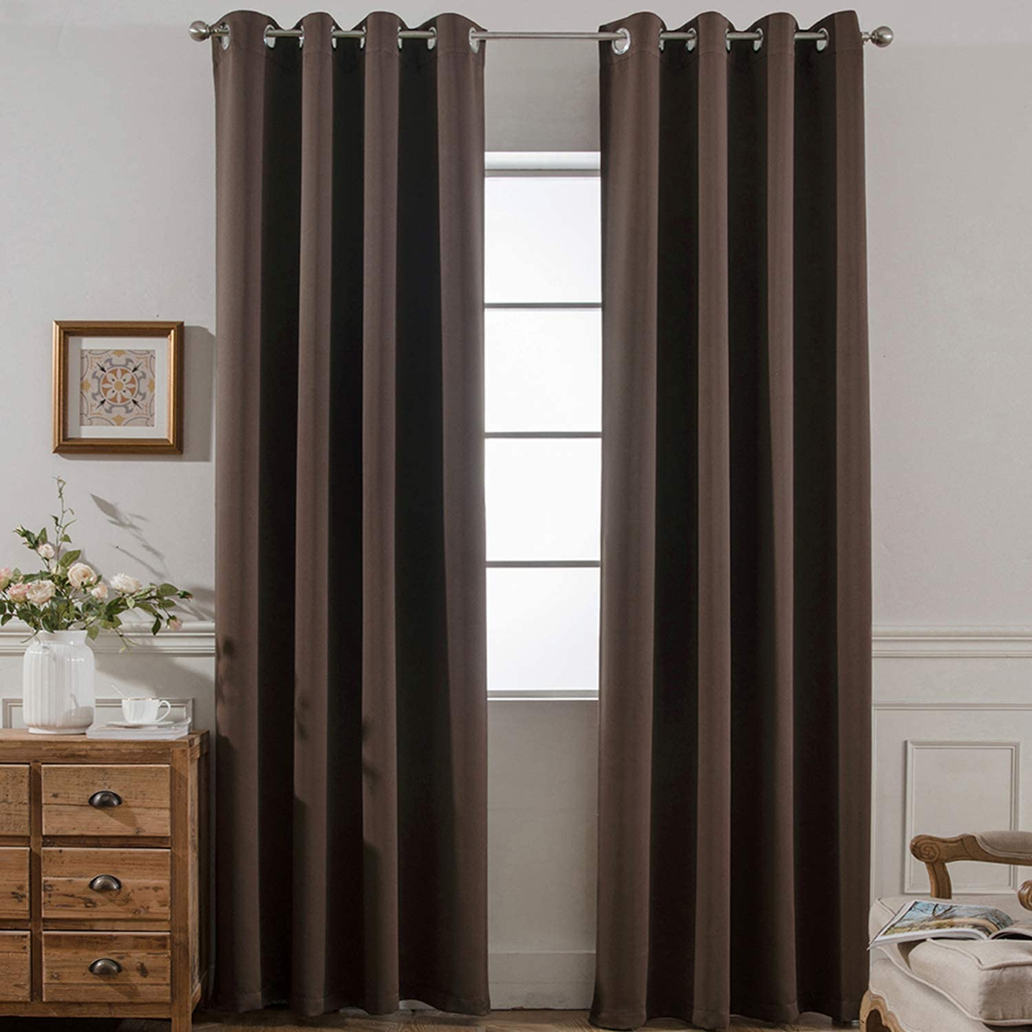 Yakamok Blackout Room Darkening Insulated Grommet Panels Window Curtains with 2 Tie Backs (Set of 2, Chocolate Brown, 52 x 96 Inch)