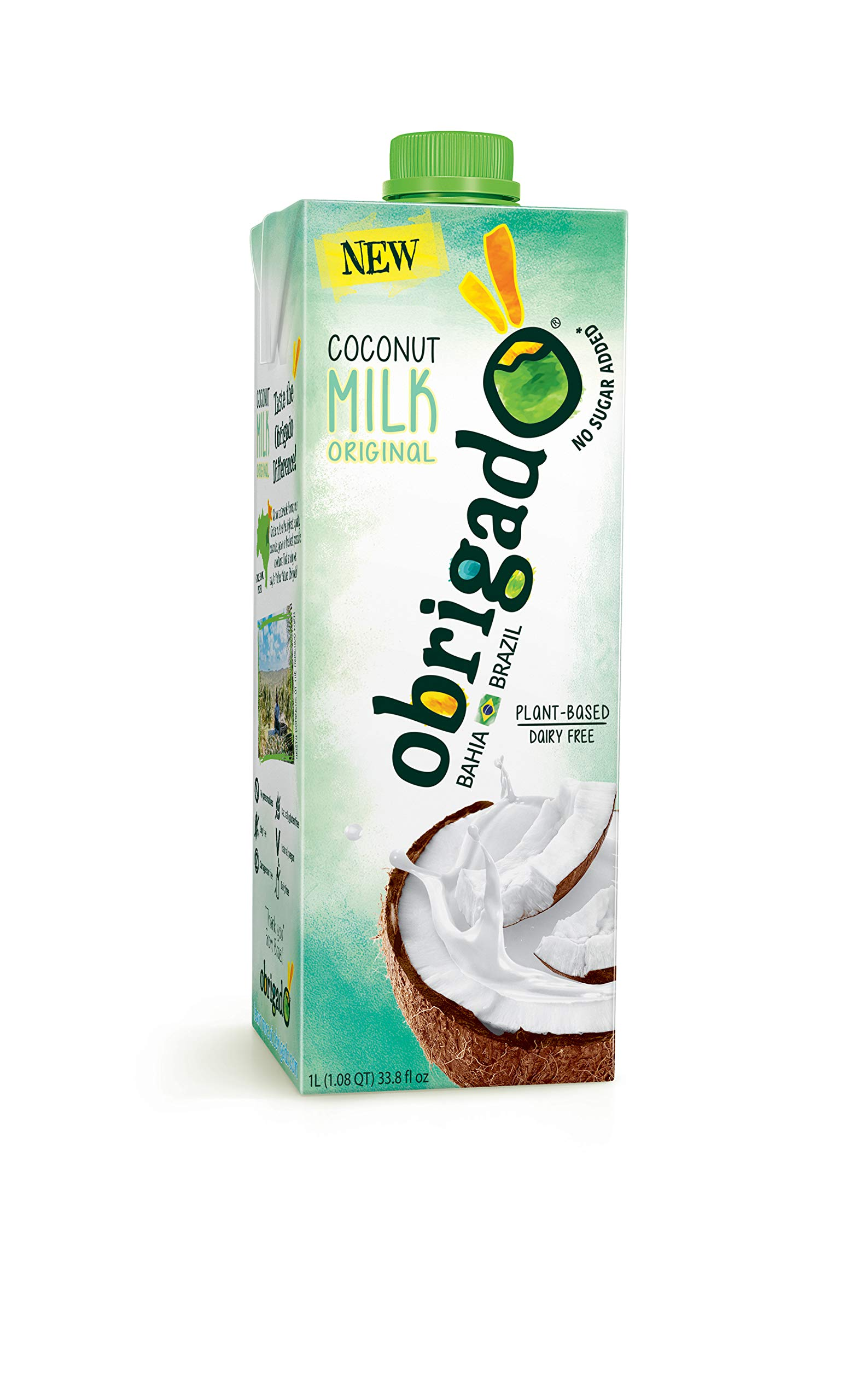 Obrigado Coconut Milk from Brazil - Grown on Sustainable Farms, Never from Concentrate, No Added Sugar or Preservatives (1 Pack)