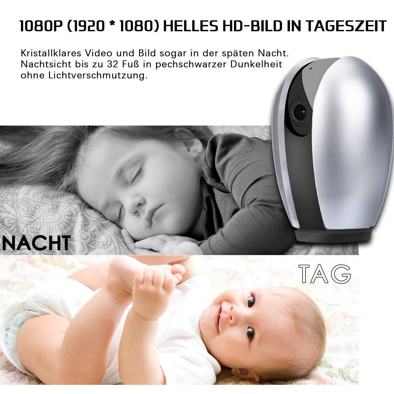 AUQUSH WLAN IP-Kamera 1080P WiFi Überwachungskamera mit Nachtsicht Bewegungserkennung,Zwei-Wege Audio und 355°/120°Schwenkbar Kamera für Baby/Elder/Haustier