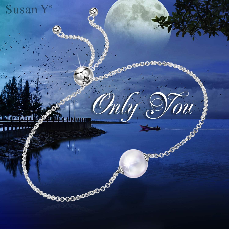 Susan Y Cadeau de Noel Cadeaux pour les femmes 90 Seulement toi Bracelet Femme Argent Sterling 925 Bracelet avec Perle