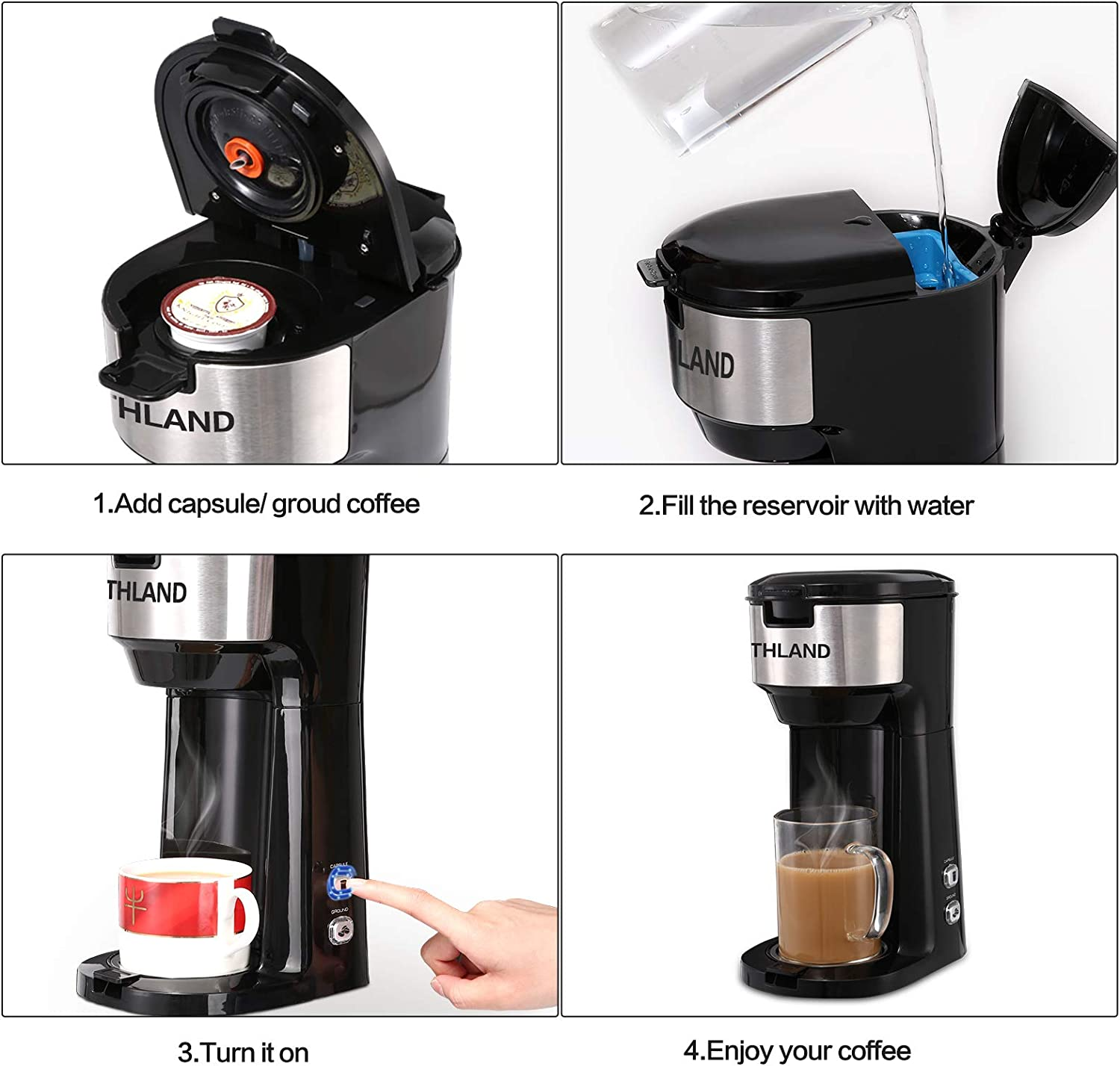 14oz 3 Mins Fast Brewing Electric Mini Coffee Machine with Strength Controlled 6oz THLAND Single Serve Coffee Maker 2 in 1 K Cup Pod /& Coffee Ground