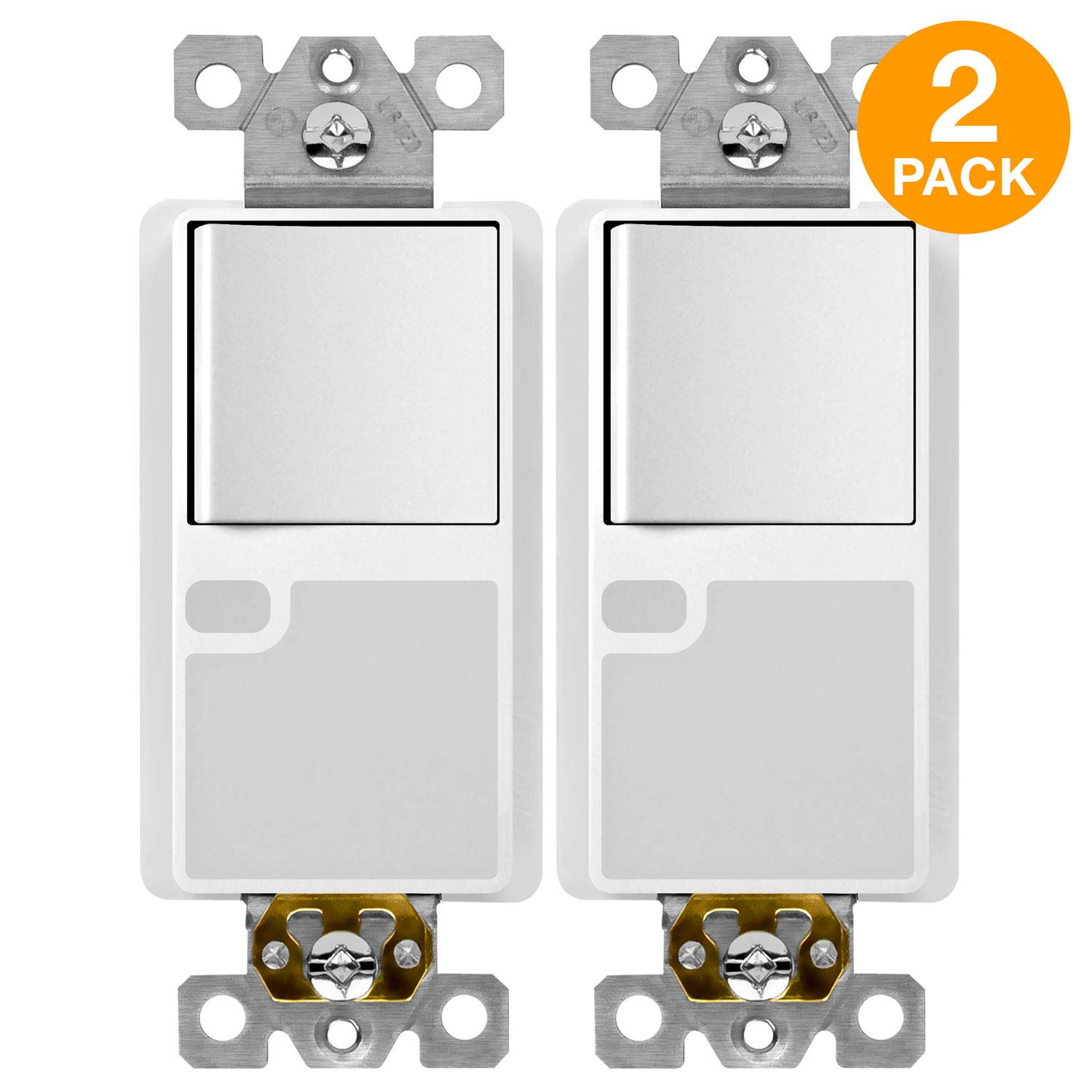 TOPGREENER Combination Decorator Light Switch LED Guide Light with Automatic Ambient Light Sensor, 120VAC/15A Single Pole Neutral Wire Required, Screwless Wall Plate, White (2 Pack) TG115SGL-2PCS