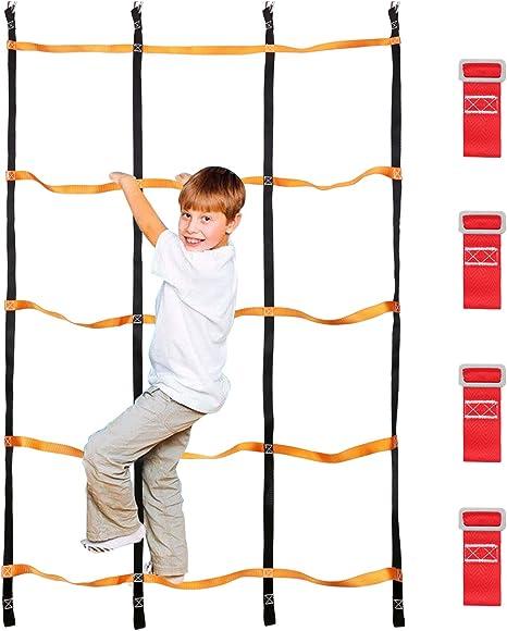 Odoland Red de Escalada para Niños 3.9 x 6.6 pies / 120 x 200 cm, Escalera de Cuerda para Niños al Aire Libre con 4 Hebillas Cuadradas y 4 Anillos de Delt: Amazon.es: Deportes y aire libre
