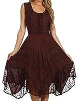 Sakkas Sundara Stonewashed Rayon Embroidered Mid Length Dress Chocolate 1X-2X