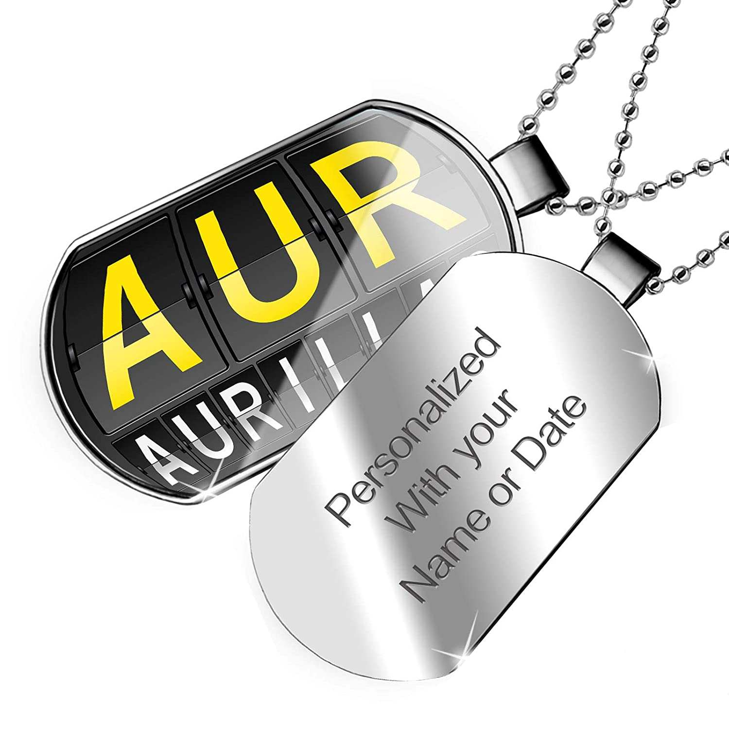 NEONBLOND Personalized Name Engraved AUR Airport Code for Aurillac Dogtag Necklace
