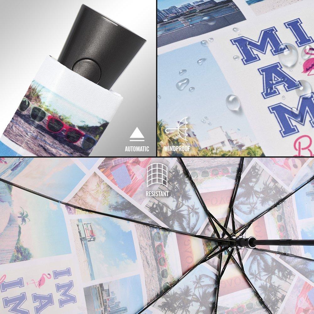Ombrello automatico da viaggio Perletti Pratico da portare in borsa o nello zaino Ombrello pieghevole antivento con stampa Miami