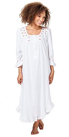 La Cera Women s Long Sleeve Cotton Knit Nightgown at Amazon Women s ... 0d450039c