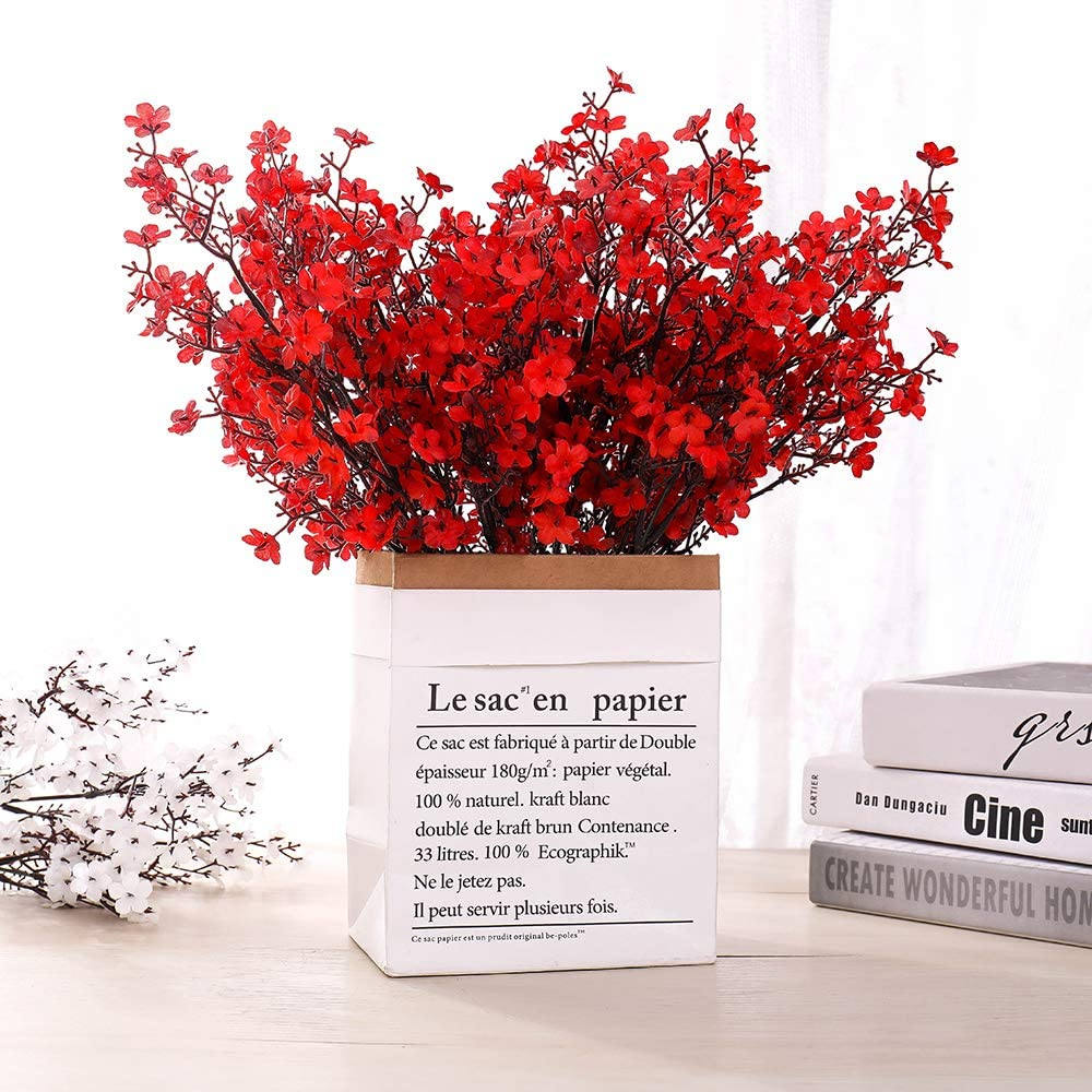 LUSHIDI 6PCS Artificial Baby Breath Flowers Fake Silk Real Touch DIY Floral Bouquets Decor Wedding Party Decoration Arrangements(Red)