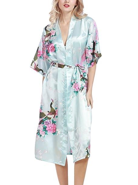 FEOYA Mujer Pijama Bata Ropa de Dormir Kimono Largo Estampado Floral y Pavo Robe Sleepwear Talla