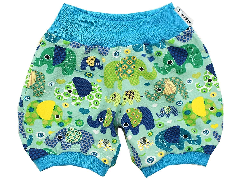 Kleine K/önige Pumphose Baby Jungen Hose /· Modell Elefantenparty t/ürkis Petrol /· /Ökotex 100 Zertifiziert /· Gr/ö/ßen 50-104
