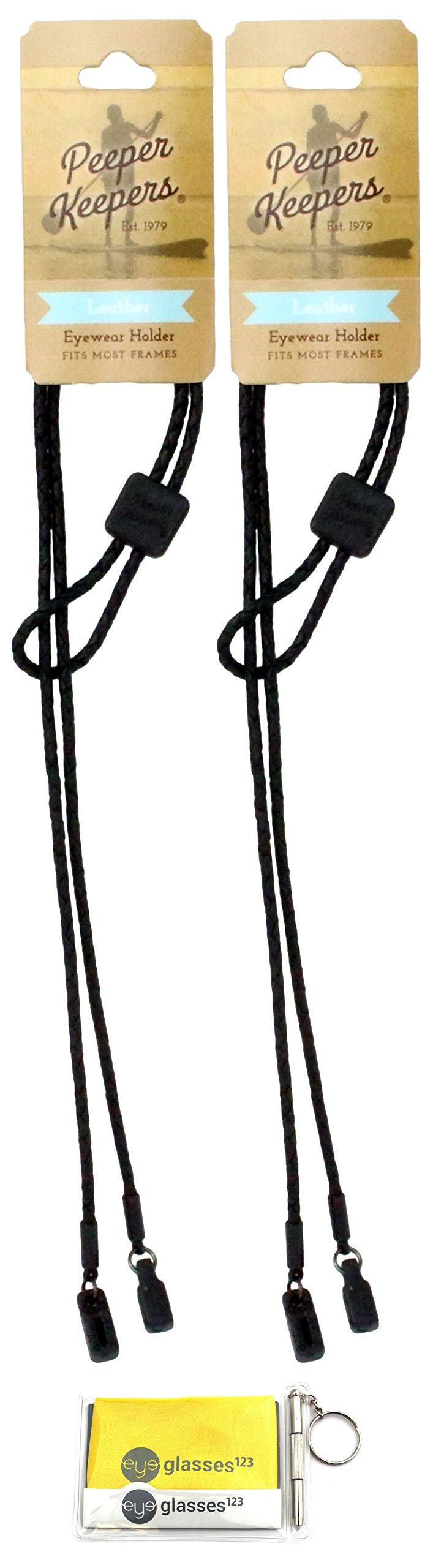 Peeper Keepers Braided Leather Adjustable Eyeglass Retainer, Black, 2 pack, w/Cloth & Screwdriver by Peeper Keepers