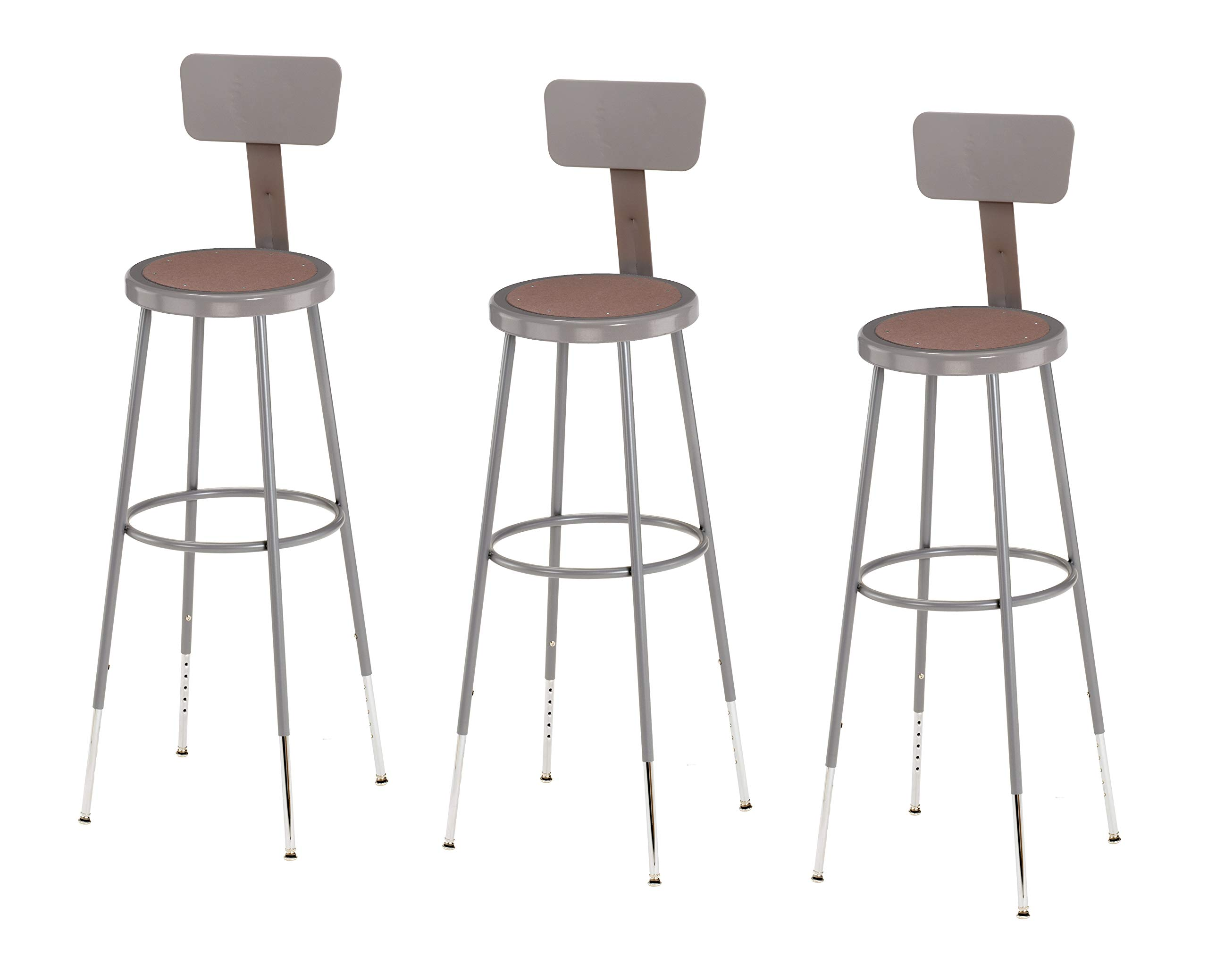 (3 Pack) National Public Seating 32''-39'' Height Adjustable Heavy Duty Steel Stool With Backrest, Grey