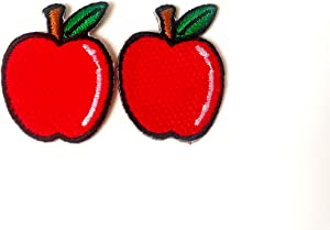 TH Set of 2 Tiny. Mini Red Apple Cute Fruit Logo Cartoon Patch Embroidered Sew on Iron on Patch for Backpacks Jeans Clothing etc.