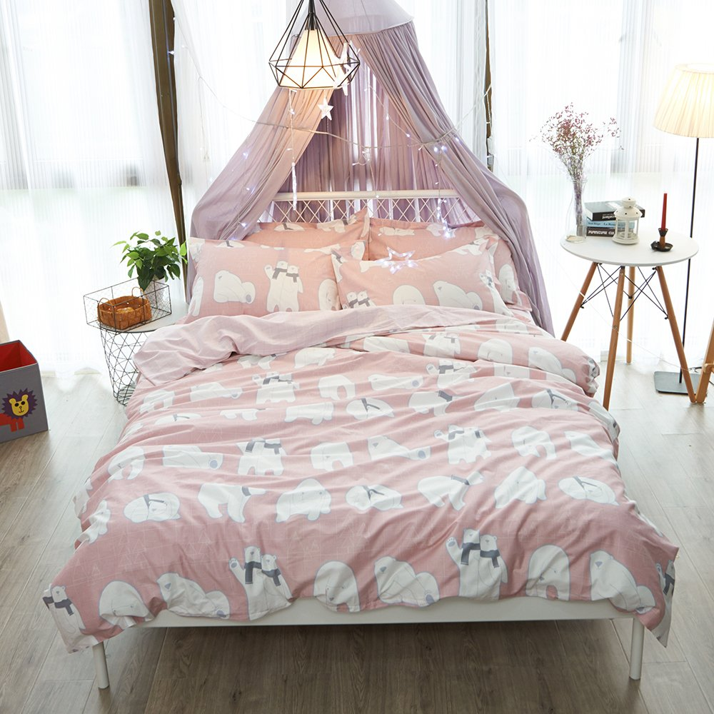 VClife Girls Duvet Cover Sets Bear Printed Bedding Comforter Cover Sets Twin Size Bedding Collections Pink White Reversible Pattern Design Bed Sets without Duvet, Zipper Closure Corner Ties, Twin