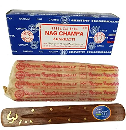 Amazon Com Satya Sai Baba Nag Champa Incense Bng Bulk 250 Gram Box With Free Holder Health Personal Care