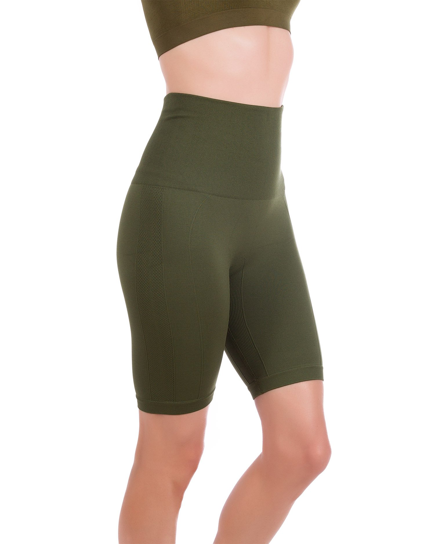 Homma Women's Tummy Control Fitness Workout Running Yoga Shorts (Large, Olive) by Homma