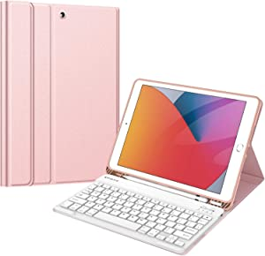 Fintie Keyboard Case for New iPad 8th Gen (2020) / 7th Generation (2019) 10.2 Inch, Soft TPU Back Stand Cover with Pencil Holder, Magnetically Detachable Wireless Bluetooth Keyboard, Rose Gold