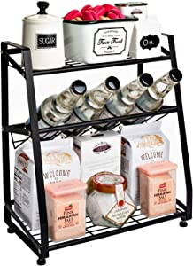 Spice Rack organizer for countertop - 3 Tier Spice Rack, Kitchen & Bathroom Standing Storage Shelf - Seasoning & Condiment Holder, Perfect for Counter, Pantry & Cabinet Organization, Black