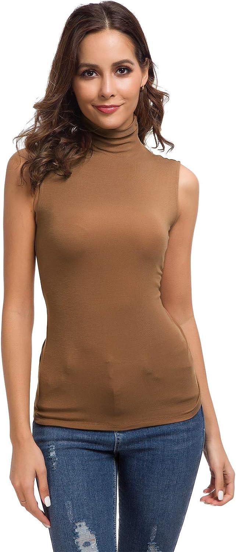 Nasperee Womens Basic Long Sleeve//Sleeveless Cotton Turtleneck//Mock Neck Slim Fit Tank Top Pullover Sweaters