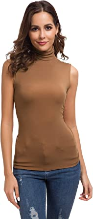 Women Sleeveless Leopard Printed Slim Fit Turtleneck Tee Shirt Tank Tops Blouse