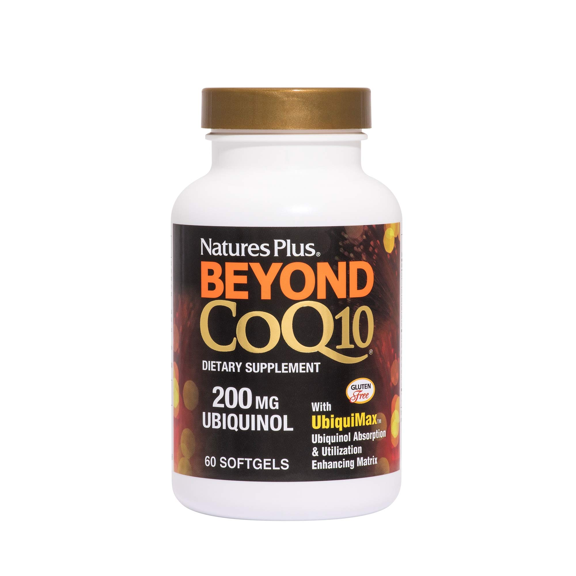 NaturesPlus Beyond CoQ10-200 mg Ubiquinol - 60 Easy to Swallow Softgels - High Potency, High Absorption Supplement, Promotes Heart Health, Antioxidant - 60 Servings