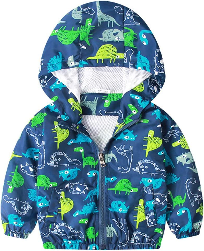 Chaqueta con Capucha para Ni/ños Ni/ñas Impresas Abrigos Dinosaurio de Dibujos Animados Sudadera Prendas de Abrigo Trajes de Oto/ño y Primavera