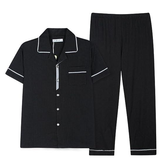 Wangs Mens Pajamas Summer Leisure Knitting Short Sleeve Cotton Pajamas at Amazon Mens Clothing store: