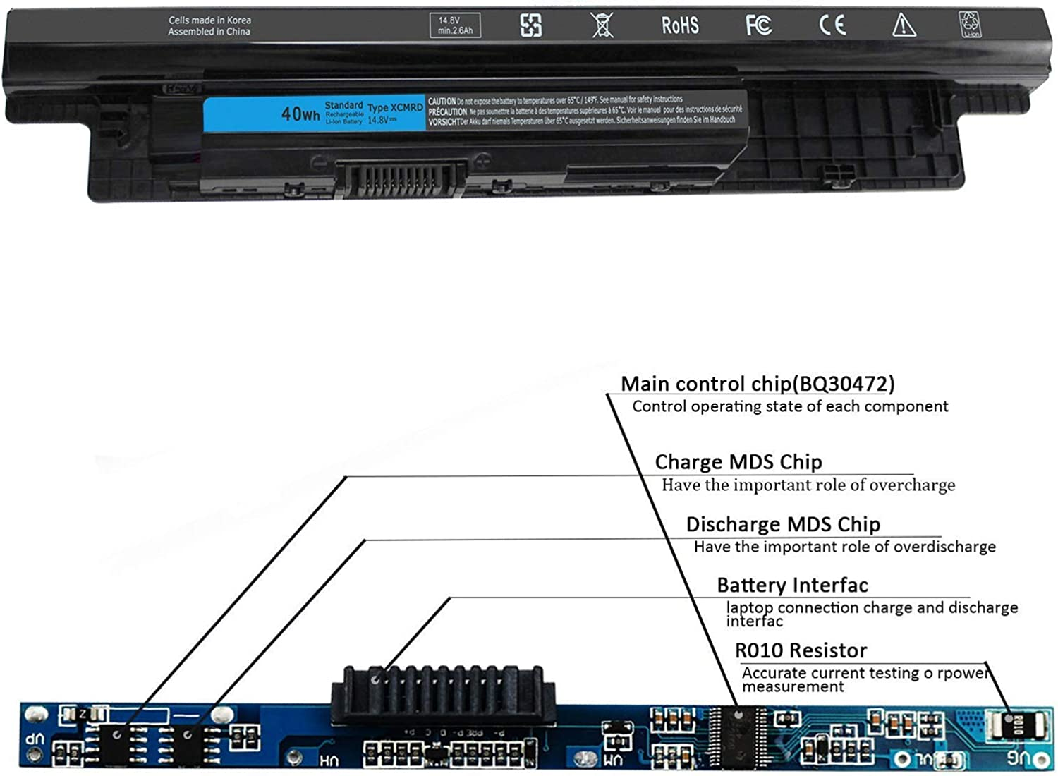 Latitude 3540 New XCMRD 14.8V 40Wh Laptop Battery Compatible with ...