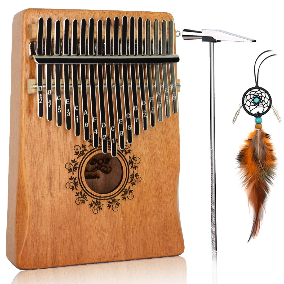 17 Key Kalimba Thumb Piano, Bindor Finger Piano Mbira Kalimba Solid Mahogany Body Portable Easy-to-learn Musical Instrument with Tuning Hammer(Wood Color) by BinDor (Image #1)