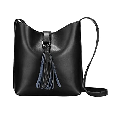 S-ZONE Women s Small Cowhide Leather Shoulder Bag Cross-body Bag with  Tassel Ladies 2325916c4e974