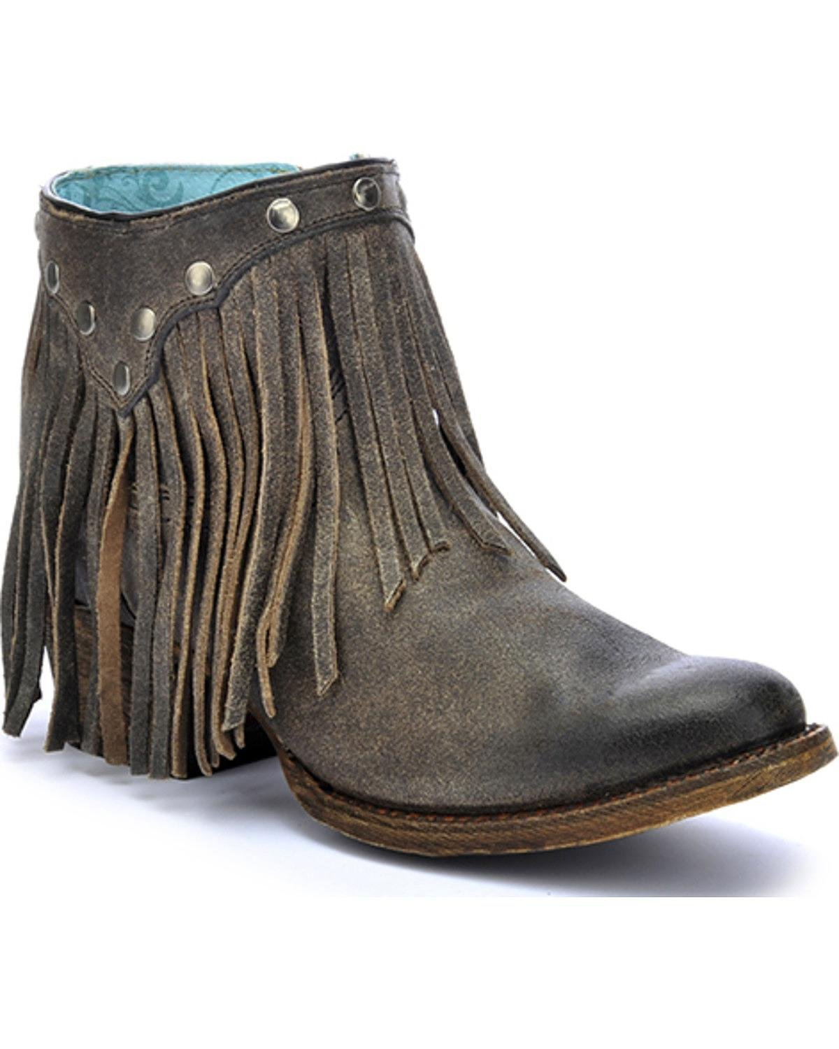 CORRAL Women's Fringe Ankle Boot Round Toe - A3136 B01J7XMD00 8 B(M) US|Grey