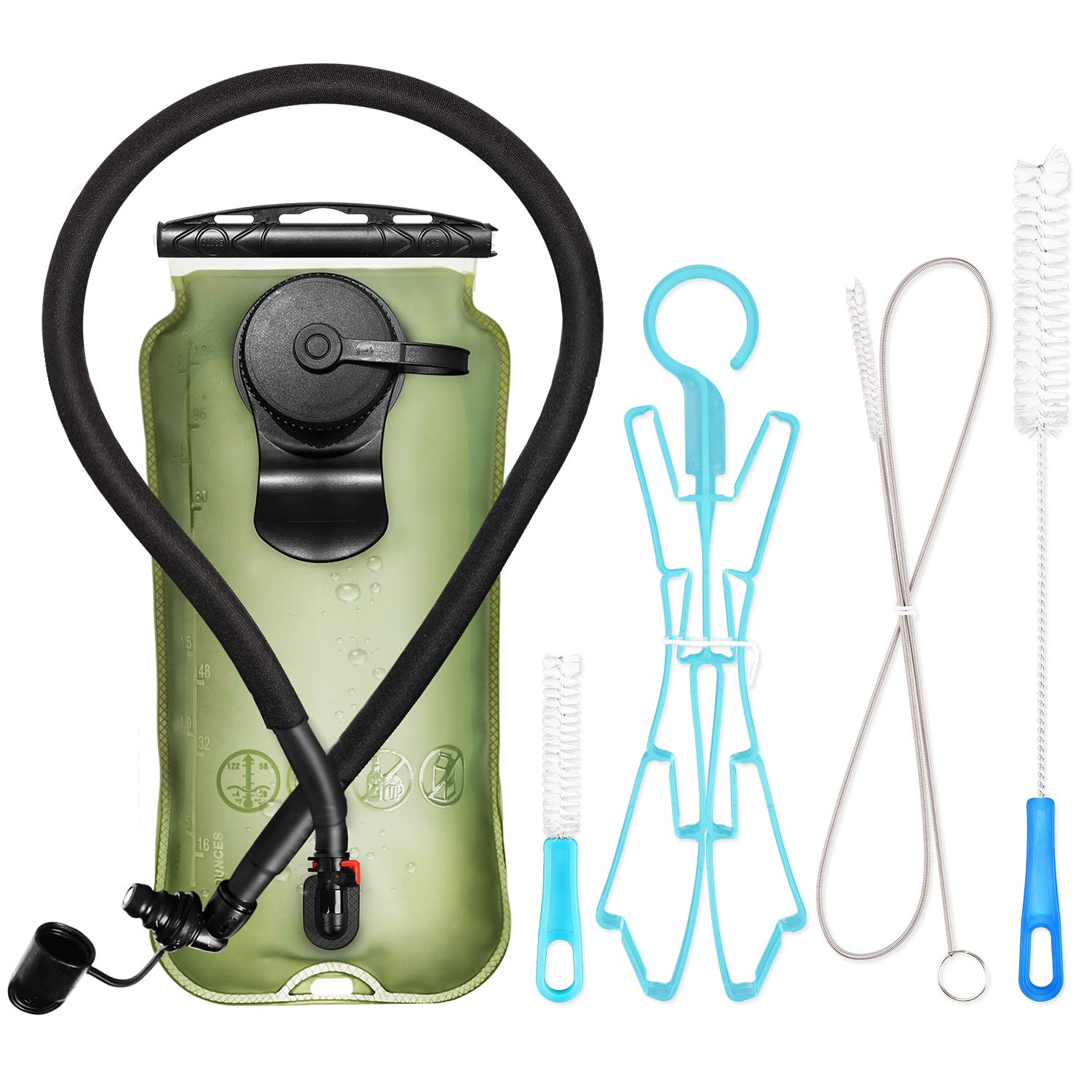 Leader Accessories Hydration Bladder Green 3 Liter Water Reservoir Water Bladder Hydration Pack Bladder FDA Approved Tasteless and BPA-Free TPU Material Large Opening Quick Release Tube (3l with kit) by Leader Accessories