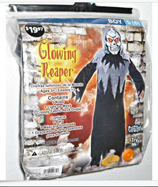 Glowing Reaper Costume Boys Small (size 6) Light Up Eyes