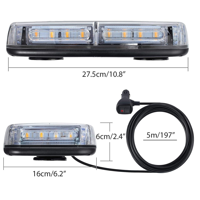 Proster Luce Lampeggiante da Auto 12V 24 LED Ambra 7-Modalit/à Luce da Tetto del Veicolo Impermeabile IP65 con Doppio Interruttore 5m Cavo Accendisigari Luce di Emergenza per Auto Camion SUV