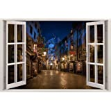 "Hogwarts Harry Potter 3D Harry Potter Diagon Alley Night 3D Window View Decal WALL STICKER Art Mural Kids. 18"", 24"", 36"" or 52"""