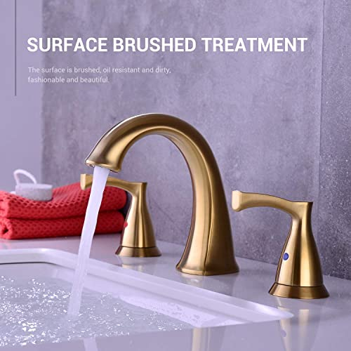 2-Handle 8 inch Widespread Bathroom Faucet, 3 Holes Basin Faucet, Mixer Sink Faucet with Pop Up Drain,Brushed Gold