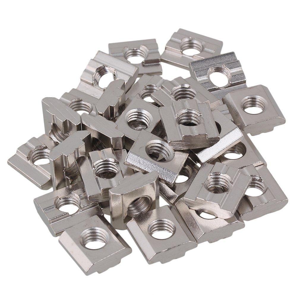 T4 Gleitmuttern aus silbernem Kohlenstoffstahl M4 Gewinde f/ür Aluminiumprofil-Extrusionsschlitz mit 20er Serie nach europ/äischem Standard Packung von 50 St/ück