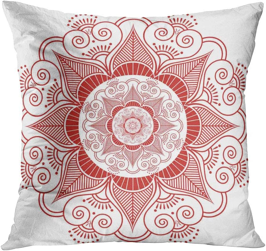Shenywell Throw Pillow Cover 20x20 Inch Asian Culture Inspired Wedding Makeup Mandala Henna Tattoo Decoration Flower Home Decor Living Room Bedroom Office Polyester Pillowcase