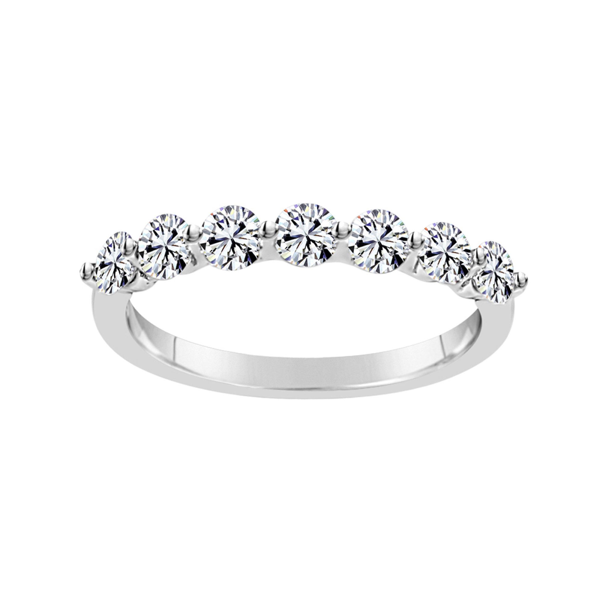 Solstice Sterling Silver 925 Round Band Ring Made with Swarovski Zirconia (3/4 cttw, Size 7)