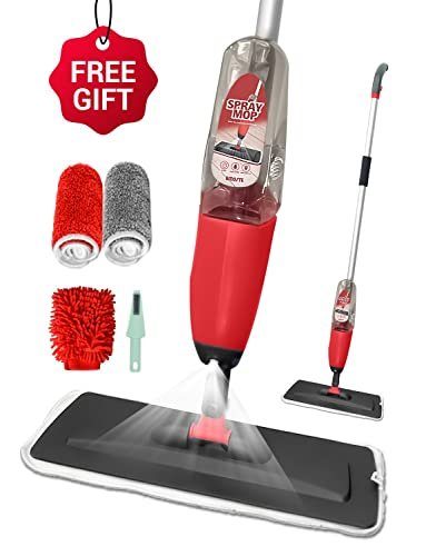 Floor Spray Mop, BMOSTE Microfibre Water Spraying Floor Cleaning Tool with 2 Extra Microfibre Refill Pad &Windows Cleaner Gloves & 600Ml Refillable Bottle.